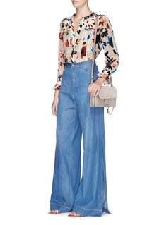 alice + olivia 'Clarissa' side split wide leg chambray pants