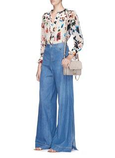alice + olivia'Malinda' ruffle floral burnout chiffon blouse