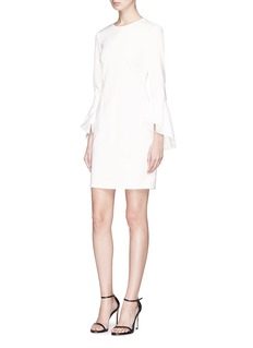 alice + olivia 'Dora' trumpet sleeve cady crepe dress