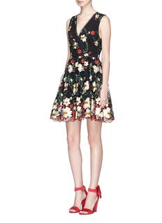 alice + olivia 'Becca' floral embroidered tulle pouf dress