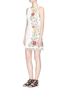 alice + olivia 'Nat' stud floral embroidered cotton dress