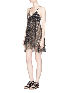alice + olivia 'Delilah' floral print lace trim silk dress