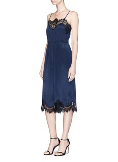 alice + olivia 'Quincy' lace trim silk satin gaucho jumpsuit