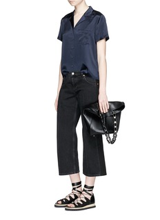 T By Alexander Wang Notched lapel silk charmeuse shirt