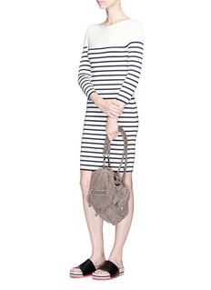 T By Alexander Wang Stripe rib knit long sleeve dress