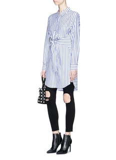 T By Alexander Wang Tie front stripe shirt dress