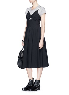 T By Alexander Wang Triangle cutout cotton poplin flared dress