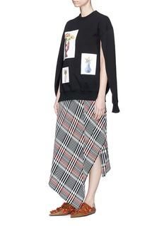 Ports 1961 Wrap effect asymmetric check plaid jersey skirt