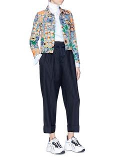 Acne Studios 'Chea' botanical embroidered cropped denim jacket