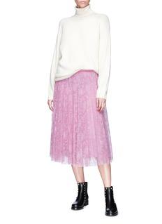Valentino Metallic floral embroidered tulle midi skirt