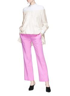 Valentino Piqué yoke pleated silk satin babydoll top