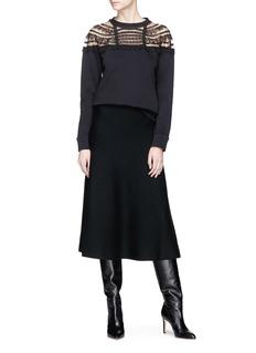 Valentino Beaded lace trim yoke sweatshirt