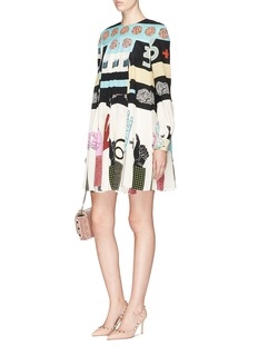 Valentino Number hand sign graphic print crepe dress