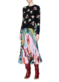 Valentino Number hand sign print pleated silk crepe dress