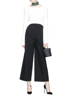 Valentino Curved waist virgin wool suiting culottes