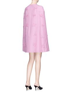 Valentino Floral appliqué wool-silk crepe cape dress