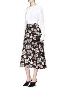 Valentino Pop flower print virgin wool-silk midi skirt