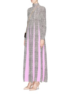 Valentino Contrast godet wavy graphic print maxi dress