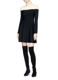 Valentino Ruffle smocked yoke knit dress