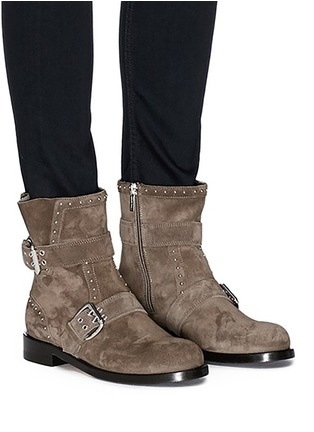 Figure View - Click To Enlarge - Jimmy Choo - 'Blyss' studded buckled suede mid calf boots