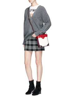 MANU Atelier 'Pristine' mini suede panel leather crossbody bag