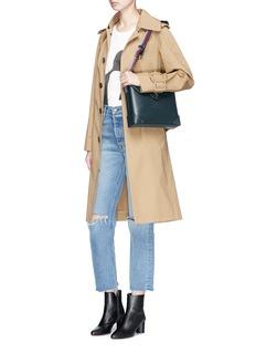 MANU Atelier 'Bold' stripe shoulder strap leather messenger bag