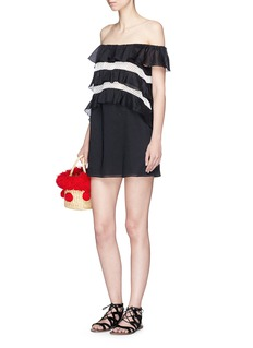 Kisuii 'Noia' braid trim off-shoulder dress