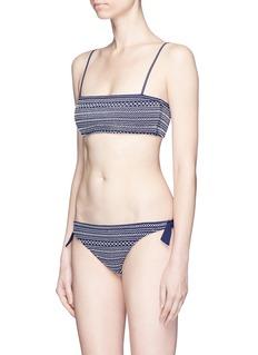 Kisuii Smocked front tie side bikini bottoms