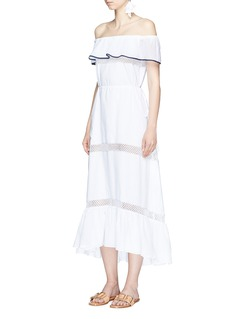 Kisuii 'Olimpia' ruffle off-shoulder cotton maxi dress
