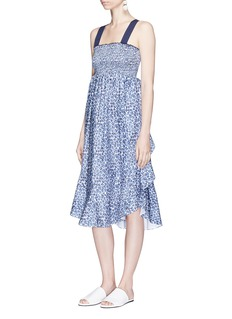 Kisuii 'Mala' smocked ruffle trim dress