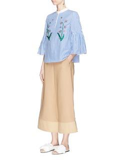 MuveilFloral embellished bell sleeve stripe blouse