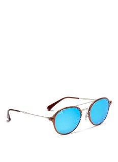Ray-Ban'RB4287' acetate rim metal mirror sunglasses