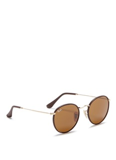 Ray-Ban 'Round Craft' leather and metal sunglasses