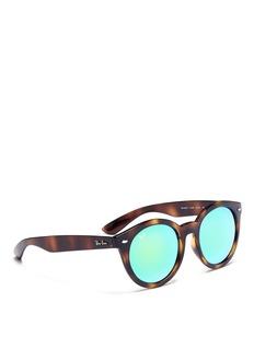 Ray-Ban 'RB4261' tortoiseshell acetate round mirror sunglasses