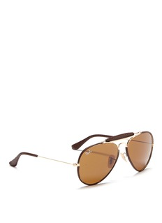 Ray-Ban 'Outdoorsman Craft' leather wrap metal aviator sunglasses