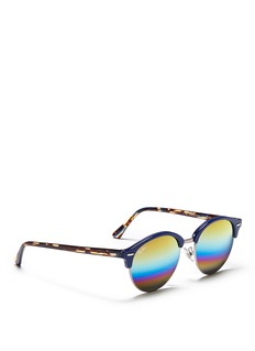 Ray-Ban 'Clubround' acetate browline rainbow mirror sunglasses