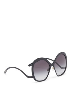 Dolce & Gabbana Wavy temple oversized round angular metal sunglasses
