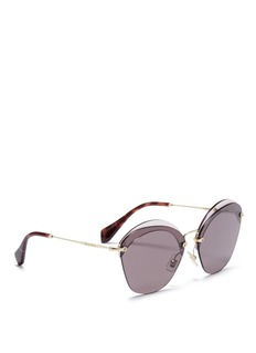 miu miu Acetate browline mounted lens cat eye sunglasses