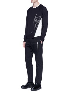 Den Im By Siki Im 'Ponyboy' face embroidered asymmetric zip sweatshirt