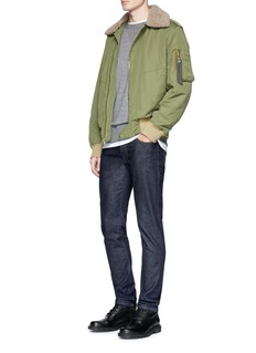 rag & bone Faux shearling collar padded twill flight jacket