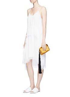 The Row 'Wristlet' mini tassel velvet clutch