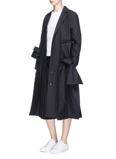 ROBERTS | WOOD Bow side split cotton cambric long coat