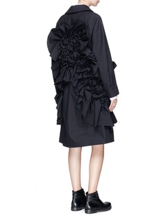 ROBERTS | WOOD Abstract weave ruffle oversized cambric coat