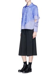 ROBERTS | WOOD Stripe organdy overlay cutout bow sleeve poplin shirt