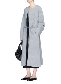 The Row 'Mani' drawstring waist Merino wool blend long coat