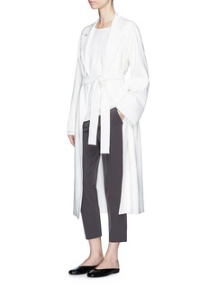 The Row 'Bruner' belted crepe long coat