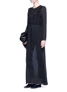 THE ROW Sabrina碎褶拼接真丝雪纺连衣裙