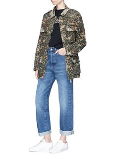Palm Angels Floral embroidered camouflage print twill jacket
