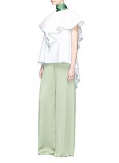 Rosie Assoulin 'Envelope' scarf ruffle cape cotton poplin top