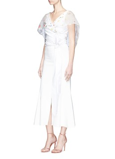 Rosie Assoulin 'October' floral organza cape overlay cropped wrap top